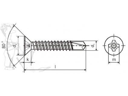 Šroub TEX zapuštěný 4,8 x 60 DIN 7504P