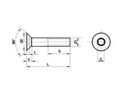 Šroub Imbus M 6x12 zapuštěný DIN 7991 ZN