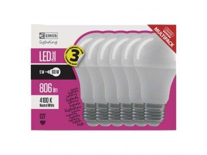 LED Žárovka 9W E27 balení 6ks studená