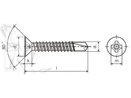 Šroub TEX zapuštěný 4,2 x 32 DIN 7504P