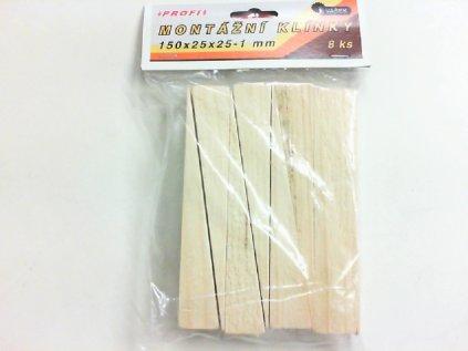 Klínek dřevěný 150x25x25-1mm 8ks