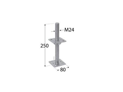 Patka kotevní stavitelná 80x80x200 M24 PSR