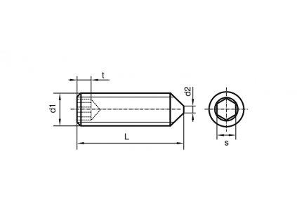 Šroub stavěcí M5x 8 DIN 914 A2