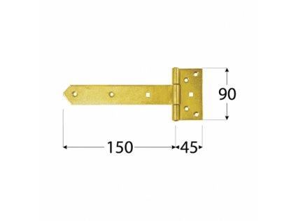 Závěs jednoramenný 150x45x90 ZN ZB150
