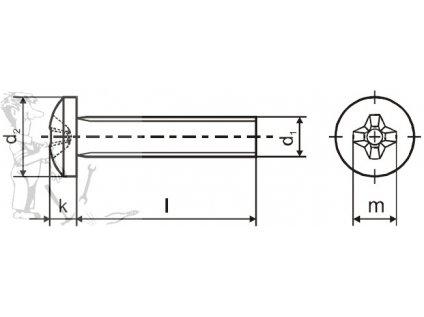 Šroub válcový PH M 5 x 40 DIN 7985 ZN