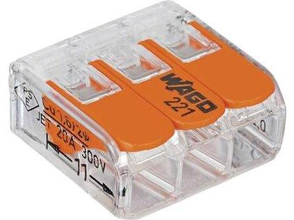 WAGO 221-413 svorka FLEXI s páčkou 3x 0,2 -4mm - 50ks
