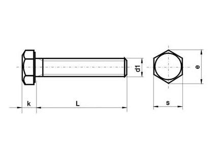 Šroub šestihraný M 8x20 DIN 933 8.8 ZN