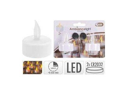 Svíčka s s časovačem čajová 2 ks LED