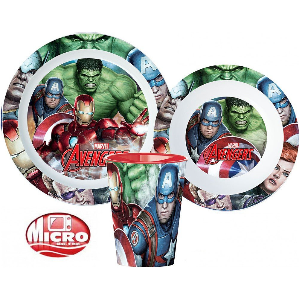 Javoli Dětská jídelní sada Avengers s hrnkem mikroplast 3-dílná