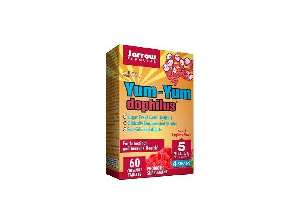 Jarrow Yum-Yum Dophilus (probiotika pro děti), 5 miliard organismů, 4 probiotické kmeny, Malina, 60 žvýkacích pastilek