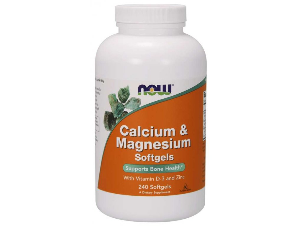 NOW Calcium & Magnesium, with Vitamin D-3 and Zinc, Vápník + Hořčík + Vitamín D3 a Zinek, 240 softgelových kapslí