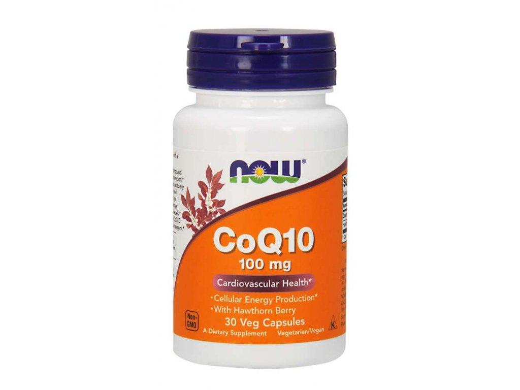 NOW CoQ10 (koenzym Q10) + Hawthorn Berry (hloh), 100 mg, 30 rostlinných kapslí
