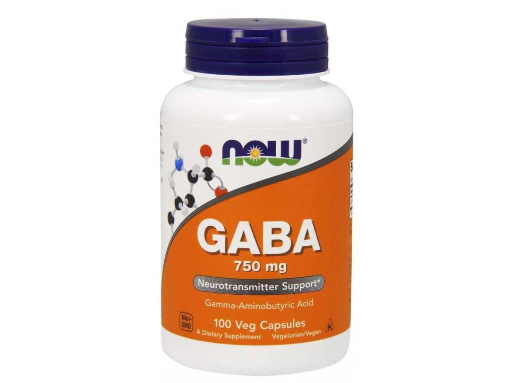 NOW GABA 750 mg, 100 kapslí