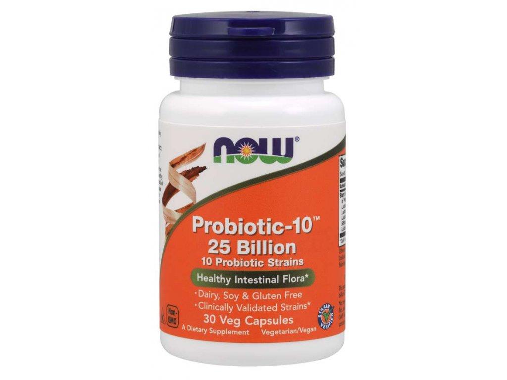 NOW Probiotic-10, probiotika, 25 miliard CFU, 10 kmenů, 30 rostlinných kapslí