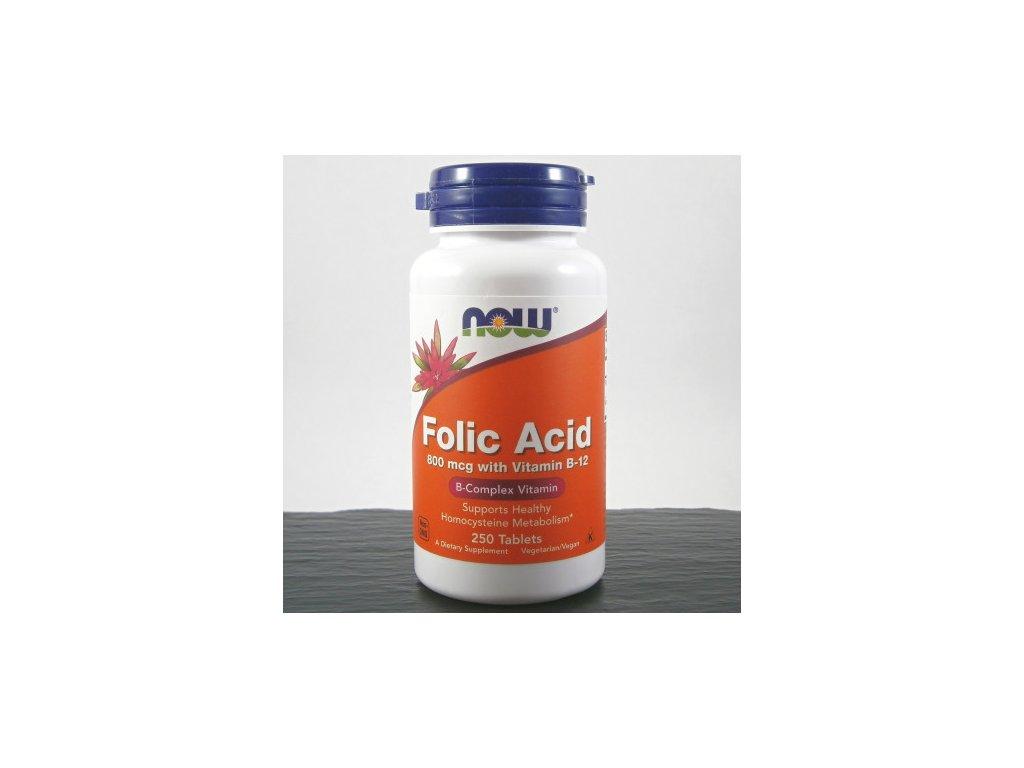 now kyselina listova s obsahem vitaminu b12 800 g x 250 tablet