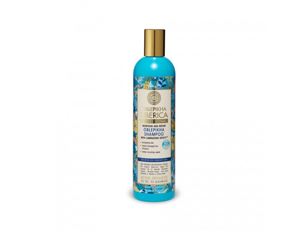 Oblepikha Siberica Rakytníkový šampon pro poškozené vlasy Laminace, 400 ml