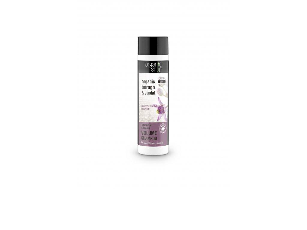 Organic shop Objemový vlasový šampon Organický brutnák a santalové dřevo, 280 ml