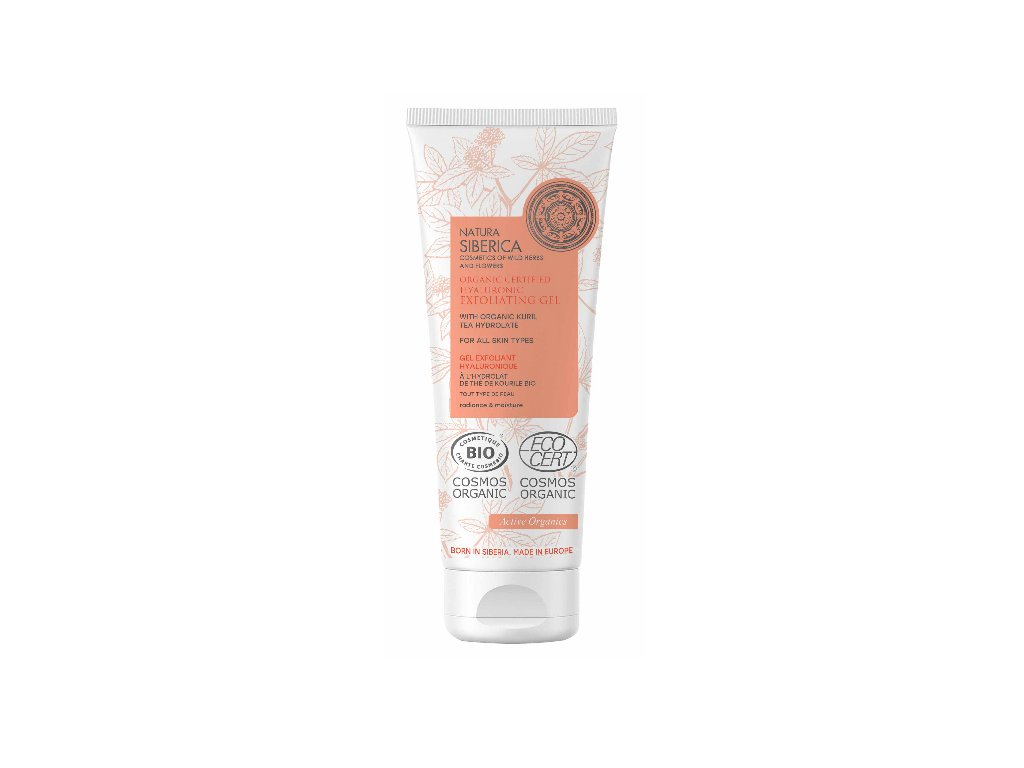 Natura Siberica Hydrolate Certified Organic Facial Exfoliating Gel s Hyaluronicem, pro všechny typy pleti, 75ml