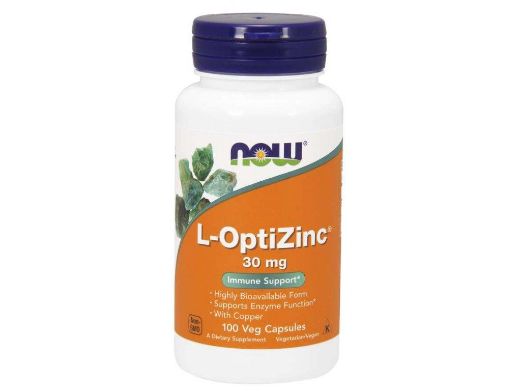 NOW L-OptiZinc Zinek + Měď, 30 mg, 100 rostlinných kapslí