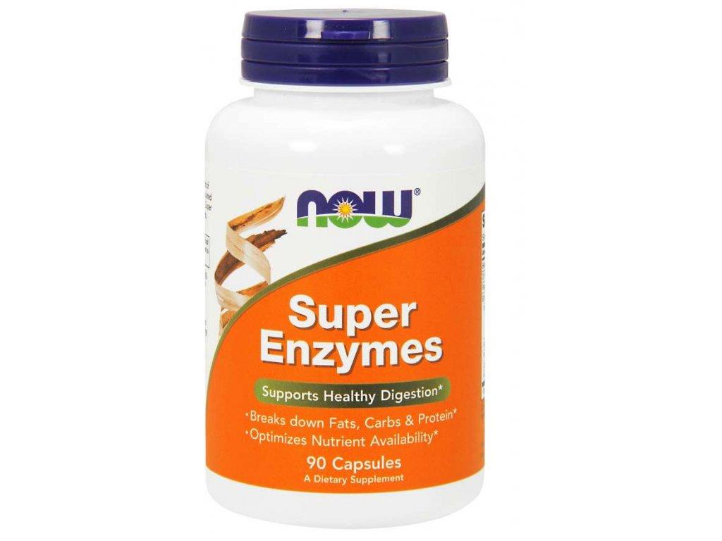 NOW Super Enzymes, komplexní trávící enzymy, 90 kapslí