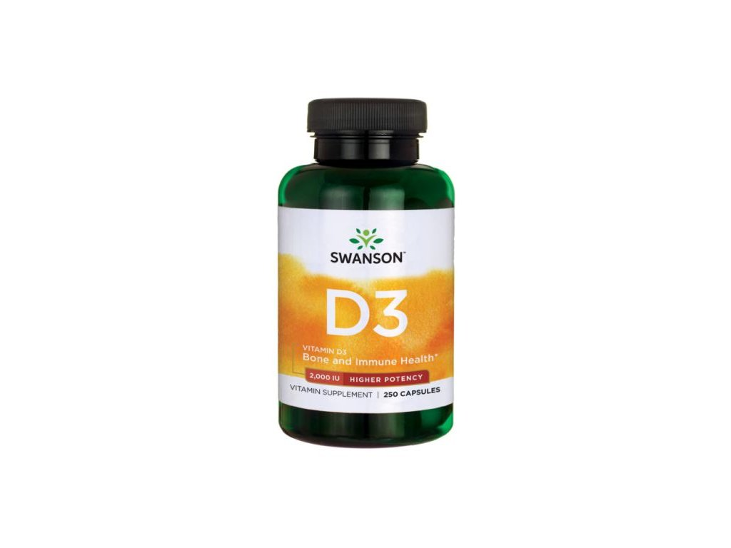 Swanson Vitamin D3, 2000 IU, Higher Potency (vyšší účinnost), 250 kapslí