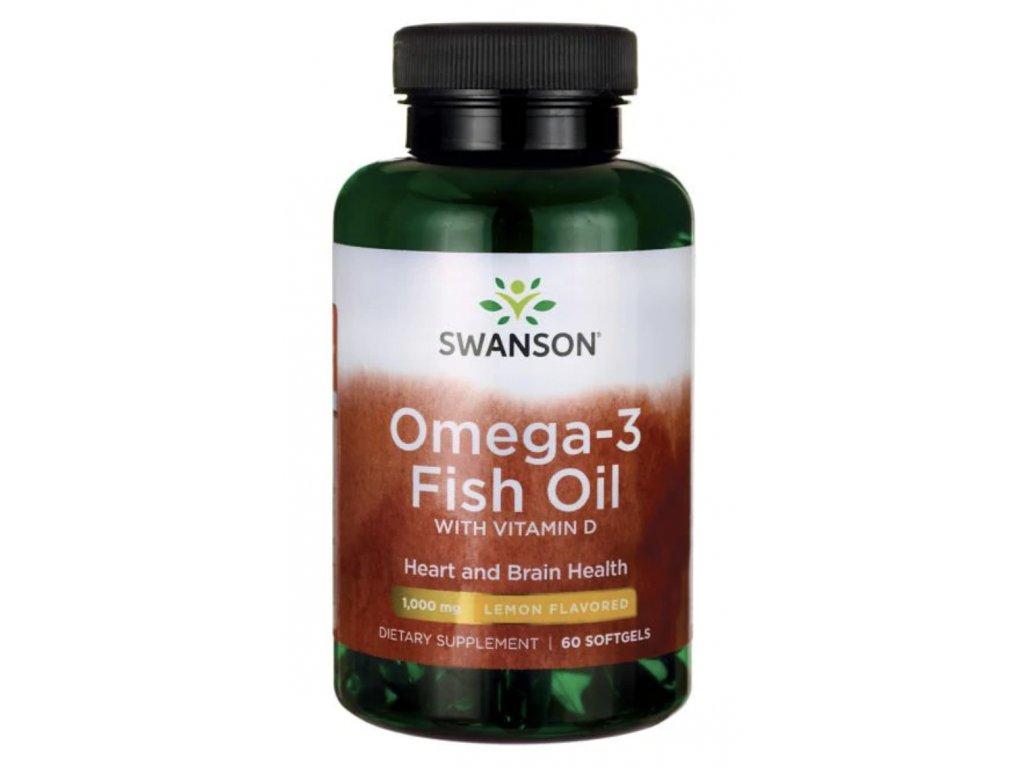 Swanson Omega 3 s vitamínem D, 60 softgel kapslí