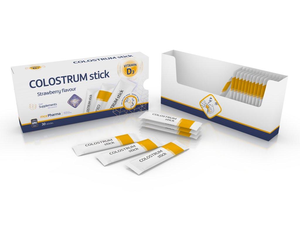COLOSTRUM 800 mg + Vitamín D3 500IU, 30 sticků s jahodovou příchutí