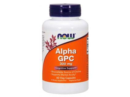 NOW Alpha GPC (L-alfa-glyceryl fosforyl cholin), 300 mg, 60 rostlinných kapslí