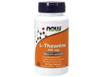 NOW L-Theanine 100 mg, Theanin s lístky zeleného čaje, 90 kapslí