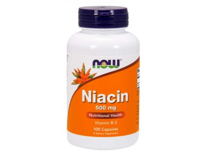 NOW Niacin (Vitamín B3), 500 mg, 100 kapslí