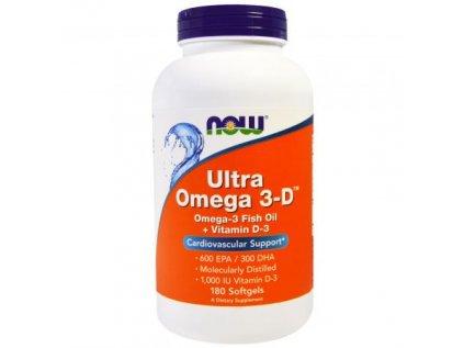 NOW Ultra omega-3 s vitamínem D, 300 DHA / 600 EPA, 180 softgel kapslí