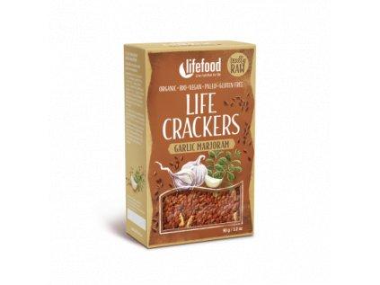 Life Crackers GARLIC MARJORAM bramborak cesnekove placky s majorankou bio raw lifefood 400 400