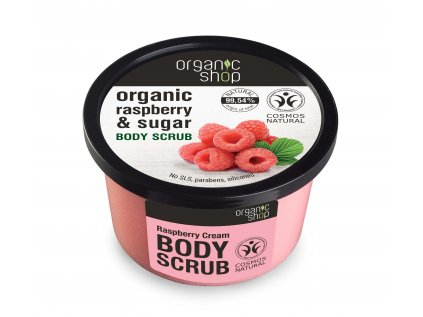 Organic shop Tělový peeling Malinový krém, 250 ml