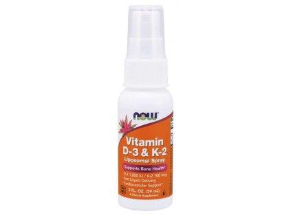 NOW Liposomal Vitamin D3 & K2 (1000 IU/100 mcg), 79 dávek, sprej 59 ml