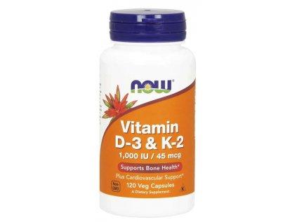 NOW Vitamin D3 & K2, 1000 IU / 45 ug, 120 rostlinných kapslí