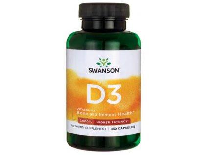 Vitamin D3 s vyšší účinností, 2000 IU, 250 kapslí