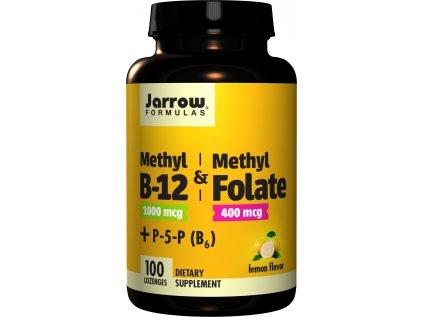 Jarrow Methyl B-12 & Methyl Folate, (Vitamín B12 + Kyselina listová, aktivované formy), 400mcg, 100 pastilek