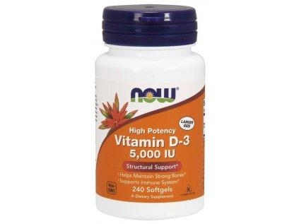 NOW Vitamin D3, 5000 IU, 240 softgel kapslí