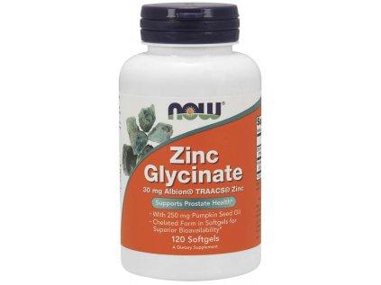 NOW Zinc Glycinate (zinek bisglycinát + dýňový olej), 30 mg, 120 softgel kapslí