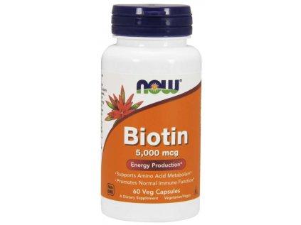 NOW Biotin, 5000 ug, 60 rostlinných kapslí