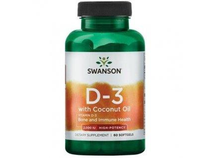 Swanson Vitamin D3 with Coconut oil (s kokosovým olejem), 2000 IU, 60 softgelových kapslí