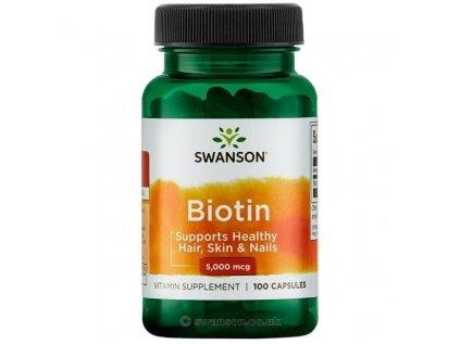 Swanson Biotin, 5000 mcg, 100 kapslí