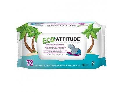 Attitude - Vlhčené ubrousky bez vůně, 72 ks