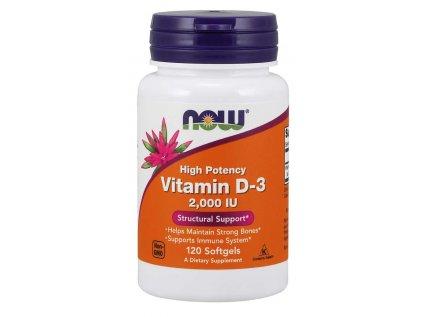NOW Vitamin D3, 2000 IU, 120 softgel kapslí
