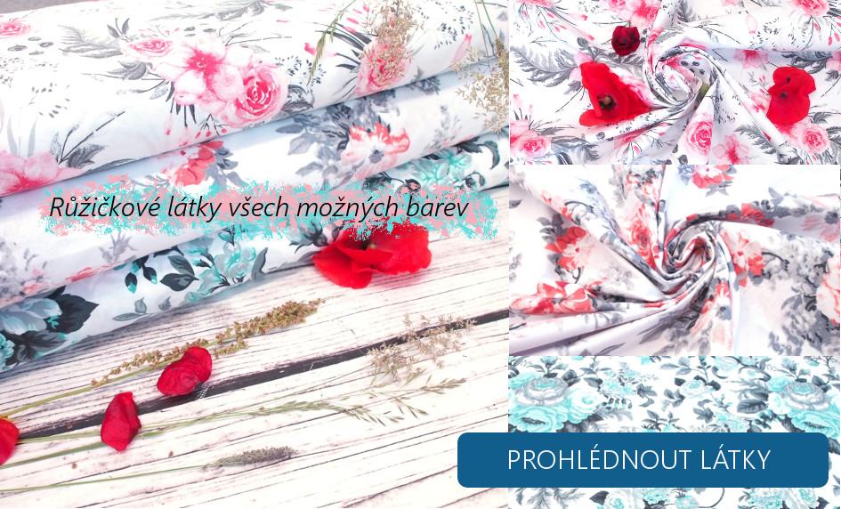 látky se vzorem květů a růžiček