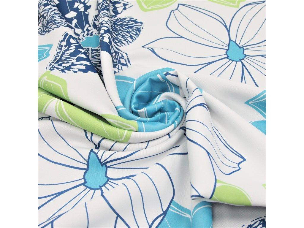 5156 dekoracni latka black out modre kvety