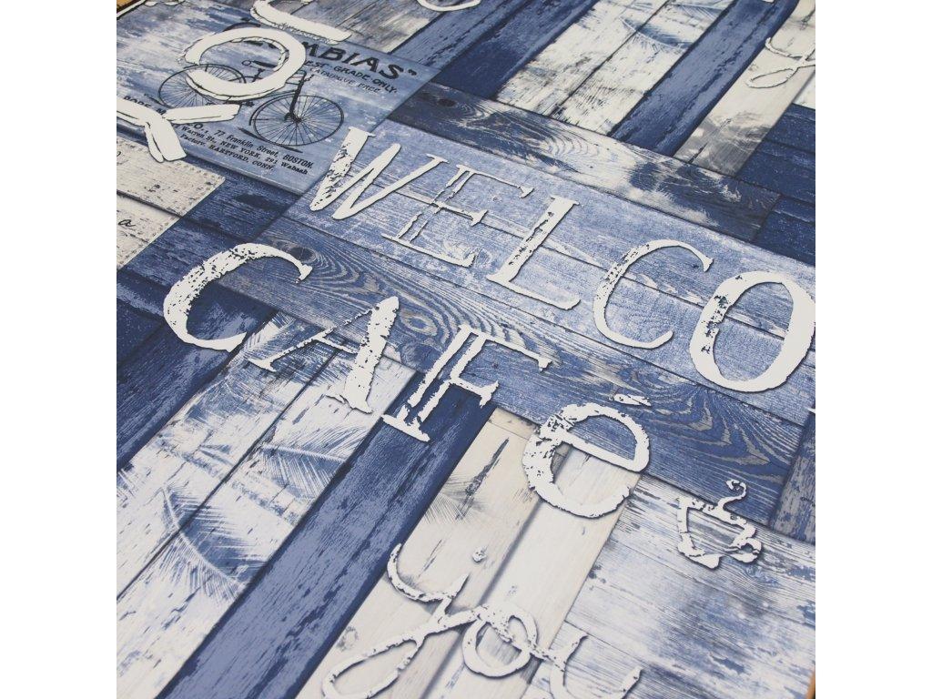 5162 dekoracni latka black out modre pismo