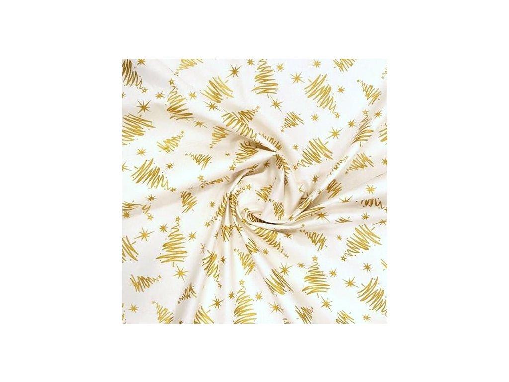 5858 vanocni latka zlate stromky na smetanove