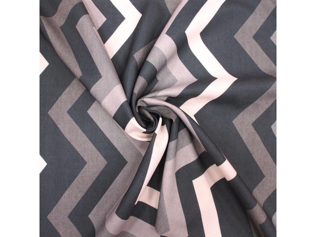 6089 dekoracni latka cernosedy geometricky vzor