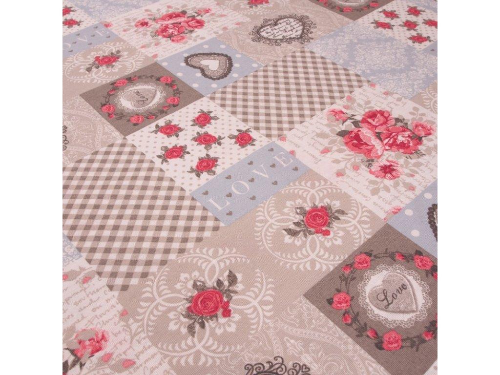 6092 dekoracni latka patchwork srdce ruze